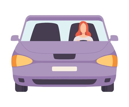 Lilac Car with Female Driver, Front View Vector Illustration on White Background.