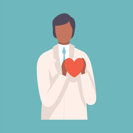 Male Doctor ardiologist Holding Red Heart, Professional Medical Worker Character in White Lab Coat Vector Illustration, Flat Style.