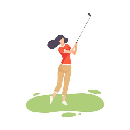 Young Brunette Woman Playing Golf, Female Athlete Golfer Training with Golf Club on Course with Green Grass, Outdoor Sport or Hobby Vector Illustration on White Background.