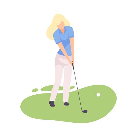 Young Blonde Woman Playing Golf with Golf Club, Female Athlete Training on Course with Green Grass, Outdoor Sport or Hobby Vector Illustration on White Background.