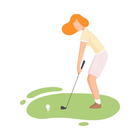 Young Woman Playing Golf, Female Golfer Striking Ball with Golf Club on Course with Green Grass, Outdoor Sport or Hobby Vector Illustration on White Background.