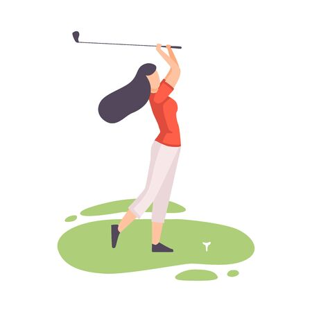 Young Brunette Woman Striking Ball with Club, Female Athlete Playing Golf on Course with Green Grass, Outdoor Sport or Hobby Vector Illustration on White Background.