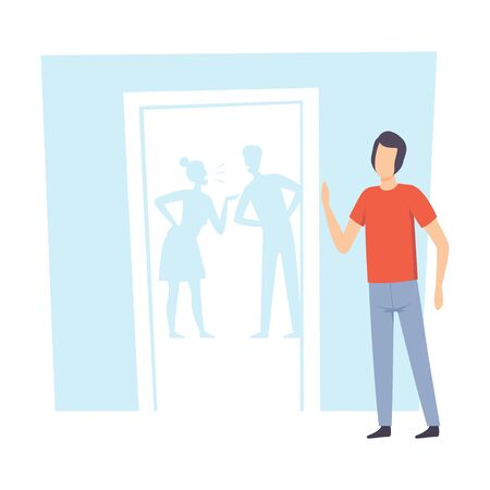 Unhappy Teen Boy and His Quarreling Parents Vector Illustration on White Background.