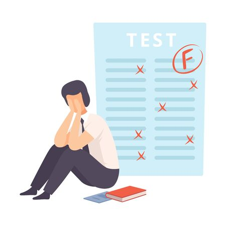 Worried, Upset Student Sitting on Floor, Teen Boy Disappointed Over His Test Results with Score F Vector Illustration on White Background.