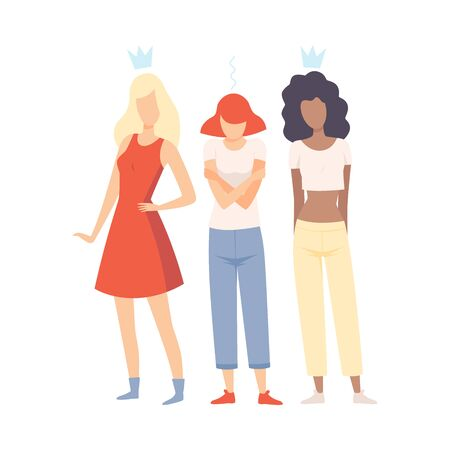 Sad Girl Standing Between Her Classmates, Naughty Teen Girls Mocking Her Vector Illustration on White Background. Ilustração
