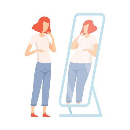 Slank tienermeisje dat zichzelf dik in de spiegel ziet, tiener puberteit probleem vectorillustratie op witte achtergrond. Vector Illustratie
