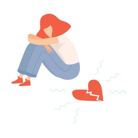 Unhappy Teen Girl with Broken Heart, Teenager Puberty Problem Vector Illustration on White Background.