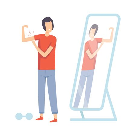 Teen Guy Standing in Front of Mirror Pretending to Be Strong Vector Illustration on White Background. Vetores