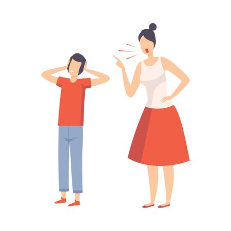 Mother Scolding Her Teenager Boy, Conflict with Parents Vector Illustration on White Background.