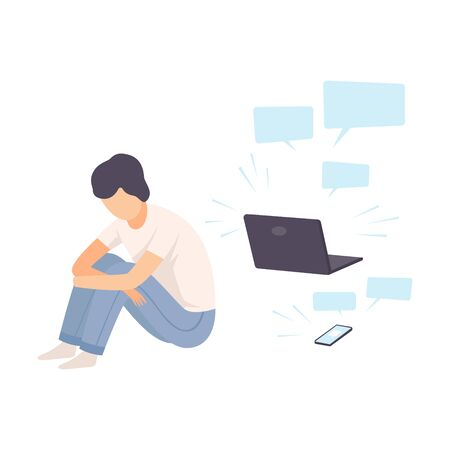 Depressed Teen Boy Sitting on Floor with Laptop Surrounded By Message Bubbles, Cyber Bullying Vector Illustration on White Background. Illustration