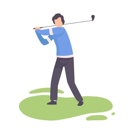 Young Man Striking Ball with Club, Male Athlete in Sports Uniform Playing Golf on Course, Outdoor Sport or Hobby Vector Illustration on White Background.