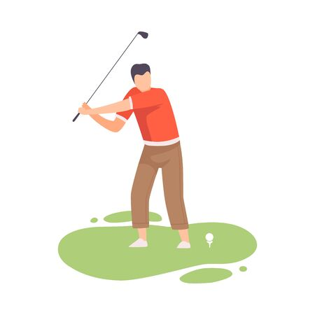 Young Man Swinging with Golf Club, Male Golfer Player Playing Golf on Course, Outdoor Sport or Hobby Vector Illustration on White Background. Stock Illustratie