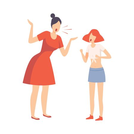 Mother Scolding Her Teenager Daughter, Conflict with Parents Vector Illustration on White Background.