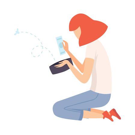 Chica adolescente sentada en el suelo y mirando en la billetera, la chica tiene poco dinero ilustración vectorial sobre fondo blanco.