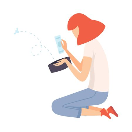 Teen Girl Sitting on Floor et à la recherche dans le portefeuille, la fille a peu d'argent Vector Illustration sur fond blanc.