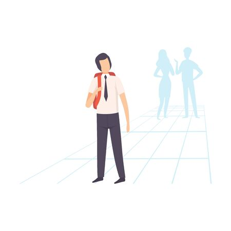 Student in Uniform Standing with Backpack, School Friends Gossiping Behind Him Vector Illustration on White Background.