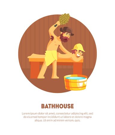 Russian Bathhouse Banner Template with Place for Text, Male Attendant Hitting Man Who Laying on Bench with Bunch of Birch Tree Twigs Vector Illustration, Web Design.