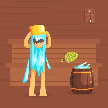Man Bathing in Wooden Bathhouse or Sauna, Guy Washing His Body Vector Illustration, Web Design. Illustration
