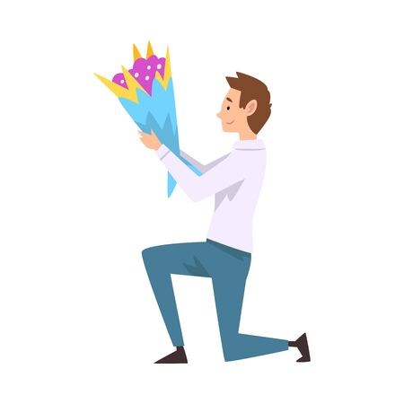 Smiling Man Kneeling Down with Bouquet of Flowers, Guy Making Marriage Proposal Vector Illustration on White Background.