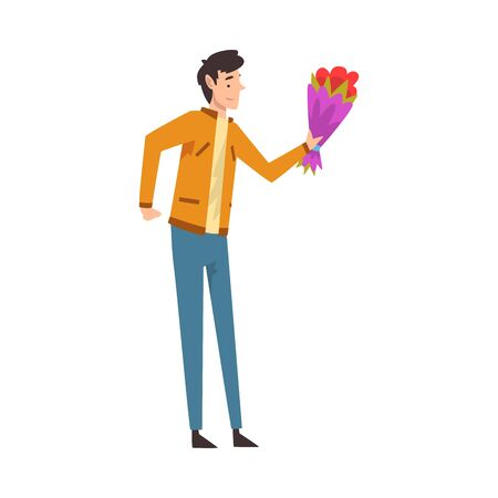 Happy Young Man Giving Bouquet of Flowers, Congratulations on Holiday, Birthday or Romantic Date Vector Illustration on White Background.