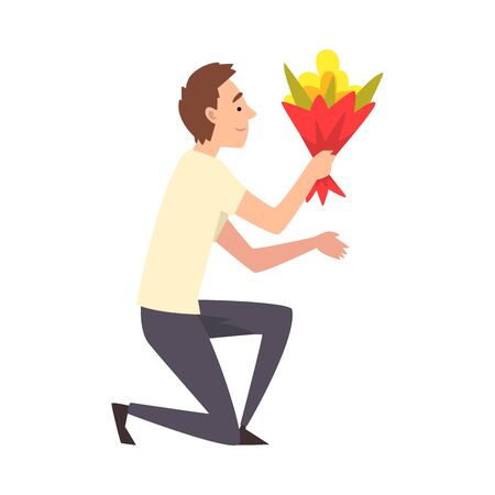 Young Man Kneeling Down with Bouquet of Flowers, Guy Making Marriage Proposal, Congratulations on Holiday, Birthday or Romantic Date Vector Illustration on White Background.
