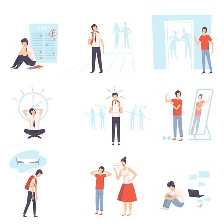 Teenager Problems Set, Anxiety, Depression, Problems with Parents, Stress at School, Bulling Vector Illustration on White Background.