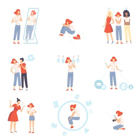 Teenager Puberty Problems Set, Anxiety, Depression, Problems with Parents, Stress at School, Bulling, Unrequited, One Sided Love Vector Illustration on White Background.