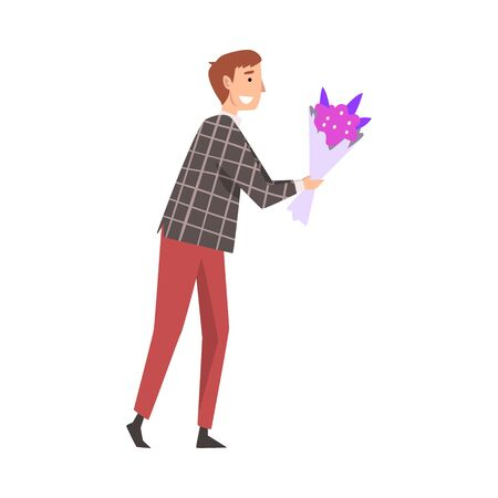 Young Smiling Man Giving Bouquet of Flowers Cartoon Vector Illustration on White Background.