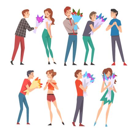 Young Men Giving Bouquet of Flowers to Happy Girls Set, Congratulations on Holiday, Birthday or Romantic Date Vector Illustration on White Background.