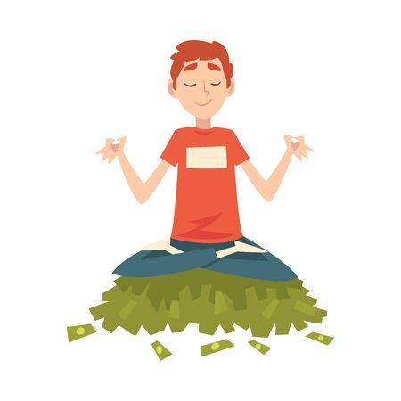 Lucky Successful Rich Guy Millionaire, Wealthy Man Meditating while Sitting on Pile of Money Vector Illustration on White Background.