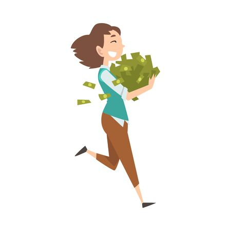 Happy Wealthy Young Woman with Lot of Money, Lucky Successful Rich Girl Vector Illustration on White Background. Illustration