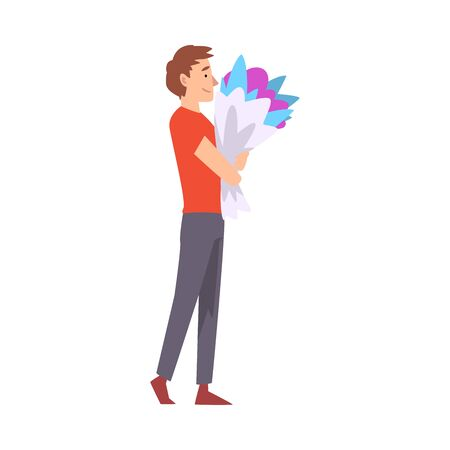 Young Man with Bouquet of Flowers, Congratulations on Holiday, Birthday or Romantic Date Vector Illustration on White Background.  イラスト・ベクター素材