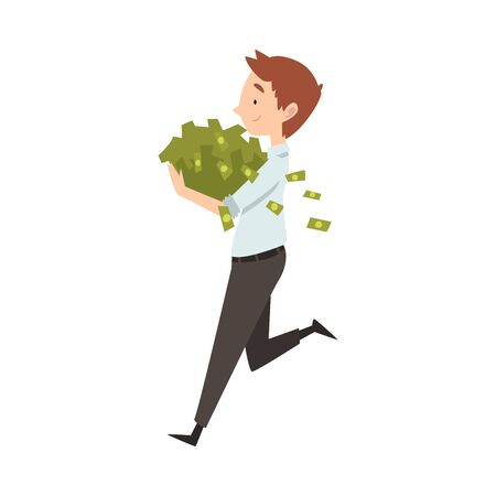Happy Wealthy Businessman Running with Lot of Money, Lucky Successful Rich Person Vector Illustration on White Background.