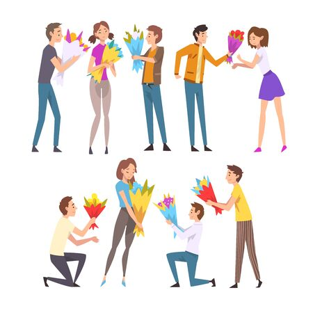 Young Men Giving Bouquet of Flowers to Happy Girls Set, Guys Making Marriage Proposal, Congratulations on Holiday, Birthday or Romantic Date Vector Illustration on White Background. Stock Illustratie