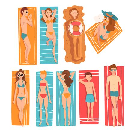 People Sunbathing and Relaxing on Beach Set, Top View of Lying Men, Women and Kids, People Enjoying Summer Vacation Vector Illustration on White Background.