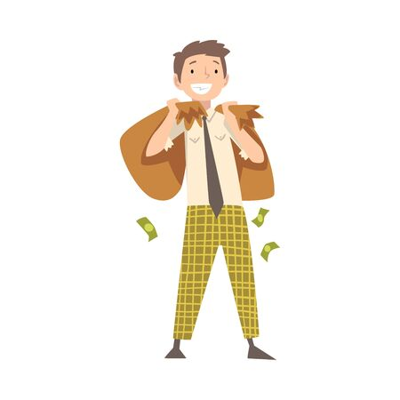 Happy Wealthy Man with Money Bags, Lucky Successful Rich Guy Millionaire Vector Illustration on White Background.