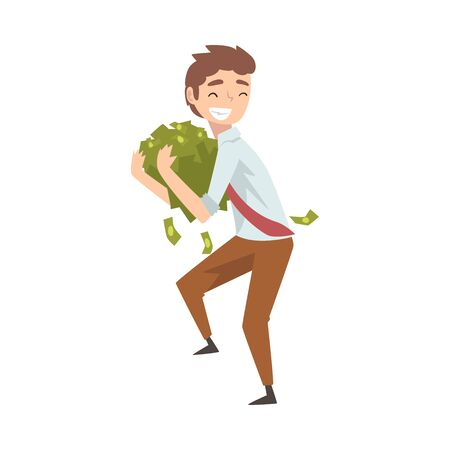 Happy Wealthy Businessman with Lot of Money, Lucky Successful Rich Person Vector Illustration on White Background.