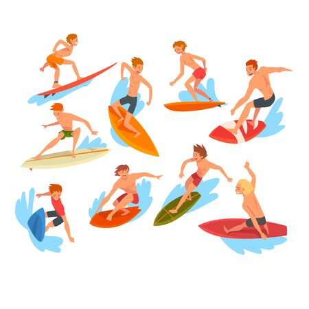 Male Surfers Characters Riding Waves Set, Recreational Beach Water Sport, Man Enjoying Summer Vacation Vector Illustration on White Background.  イラスト・ベクター素材