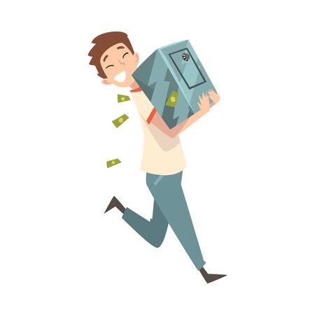 Happy Wealthy Guy Carrying Safe Full of Money, Lucky Successful Rich Person Vector Illustration on White Background.