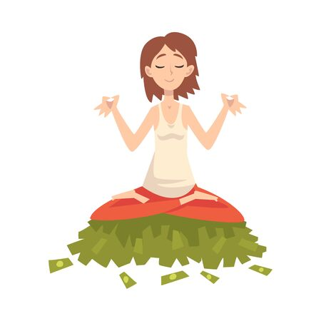 Lucky Successful Rich Girl Millionaire, Wealthy Young Woman Meditating while Sitting on Pile of Money Vector Illustration on White Background.