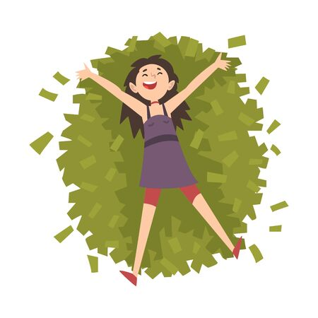 Lucky Successful Rich Girl Millionaire, Happy Wealthy Young Woman Lying on Pile of Money Vector Illustration on White Background. Illustration