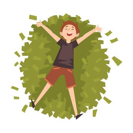 Glücklicher erfolgreicher reicher Kerl Millionär, glückliche wohlhabende Person, die auf Haufen Geld-Vektor-Illustration auf weißem Hintergrund liegt. Vektorgrafik