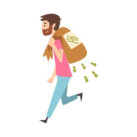 Happy Wealthy Guy Carrying Sack Full of Money, Lucky Successful Rich Person Millionaire Vector Illustration on White Background.
