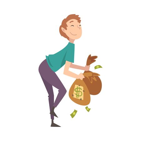Happy Wealthy Guy with Bags Full of Money, Lucky Successful Rich Person Millionaire Vector Illustration on White Background. Illustration