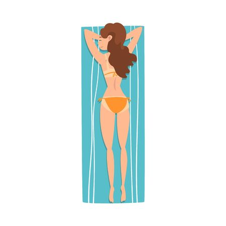 Young Woman Sunbathing on Beach Towel, Girl Lying on Her Stomach, Top View Vector Illustration on White Background.