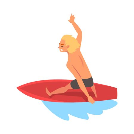 Guy Surfer Character Riding on Ocean Wave with Surfboard, Summer Recreational Beach Water Sport Vector Illustration on White Background. Illustration