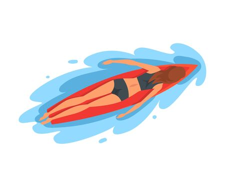 Girl Surfer Character Lying on Surfboard, Recreational Beach Water Sport, Young Woman Enjoying Summer Vacation Vector Illustration on White Background.