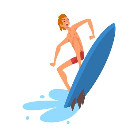 Smiling Male Surfer Character Riding Waves, Recreational Beach Water Sport, Man Enjoying Summer Vacation Vector Illustration on White Background. Stock Illustratie