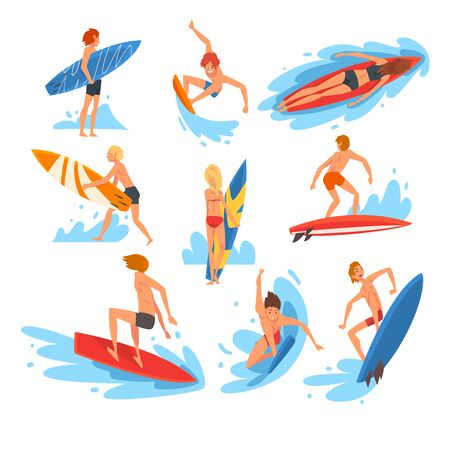 Male and Female Surfers Characters Riding Waves Set, Recreational Beach Water Sport, People Enjoying Summer Vacation Vector Illustration on White Background.