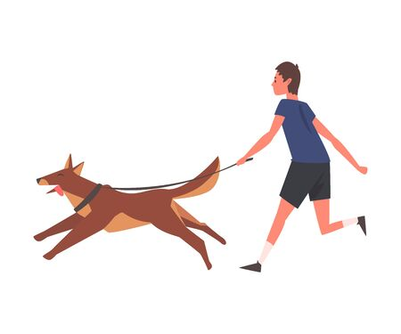 Guy Walking with His Dog, Young Man Running with His Pet Animal Vector Illustration on White Background. Archivio Fotografico - 128166133